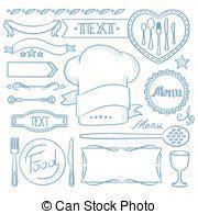 cornici menu cornici set menu nastri ristorante vettore