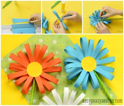 Easy Arts And Crafts For With Construction Paper - paper flower craft easy peasy and