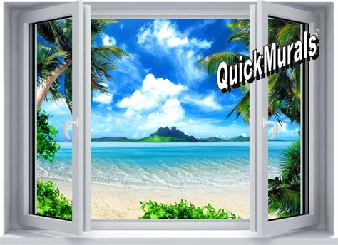 wall murals tropical window wall mural