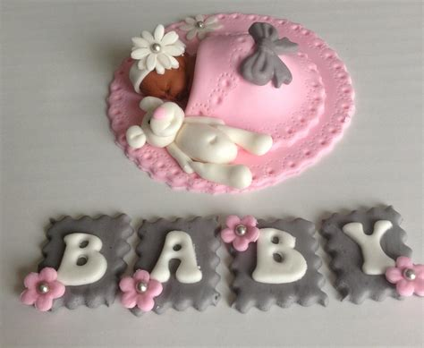 Baby Shower Cake Topper by Baby Shower Cake Topper Fondant Edible Pink And Grey Baby