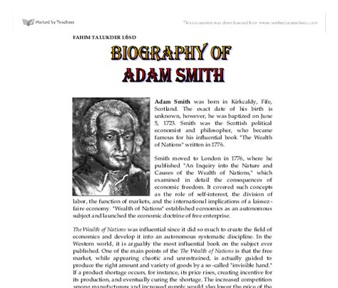 Adam Smith Biography Essay by Biography Of Adam Smith Gcse Business Studies Marked By Teachers
