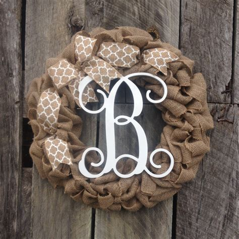 Monogram Wreath For Door by Burlap Wreath Monogram Door Wreath Initial By Studio31tengifts