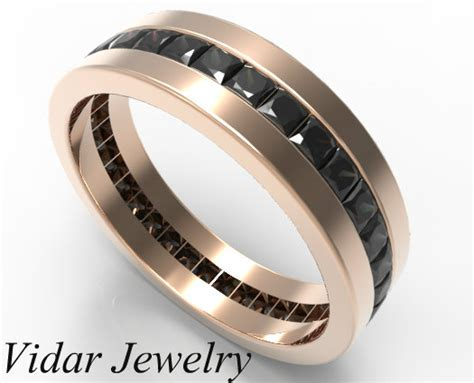 Men's Princess Cut Black Diamonds Wedding Band   Vidar