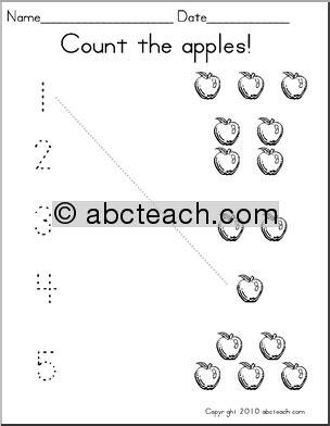 Apple Counting Worksheet by Math Counting With Pictures Set 3 Apples Prek 1 Abcteach