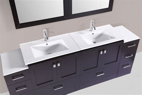2 Sink Bathroom Vanity 84 Quot Redondo Espresso Modern Bathroom Vanity With 2 Side Cabinets And Integrated Sinks