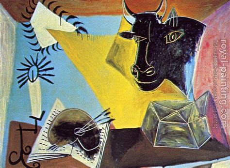 picasso paintings pdf still with a balck bull book palette and chandelier