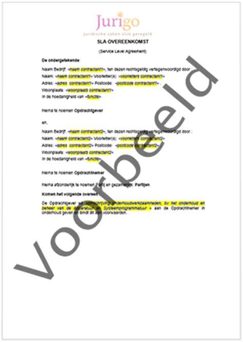 brief opstellen kwijtschelding service level agreement overeenkomst sla contract