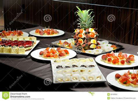 types of for buffet food table stock photography image 36100662