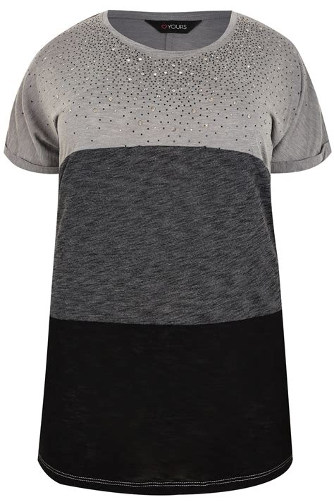burgundy black colour block top gem embellishment grey black colour block top with gem embellishment plus