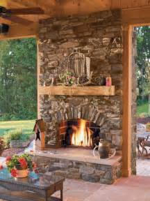 Beautiful Porches rustic stone fireplace houzz