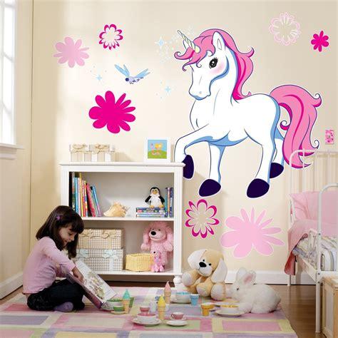 unicorn themed bedroom enchanted unicorn enchanted unicorn giant 96cm bedroom wall decals party decorations