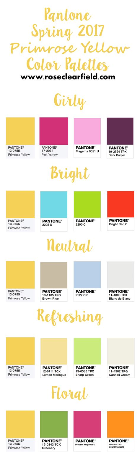 pantone color chart 2017 pantone spring 2017 primrose yellow inspiration rose