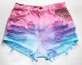 colored denim shorts pink blue purple tie dye levi s vintage denim conical