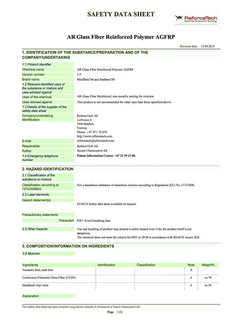 glass msds msds sheets reforcetech