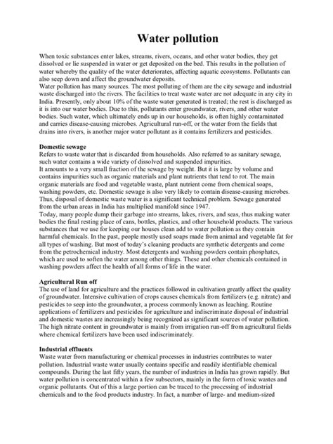 Essay About Water by Water Pollution E V S Project Water Pollution Water