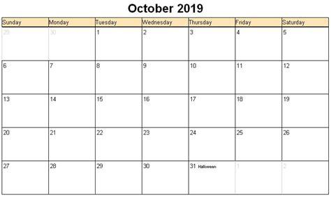 Calendar 2019 October October 2019 Printable Calendar Calendar For 2019