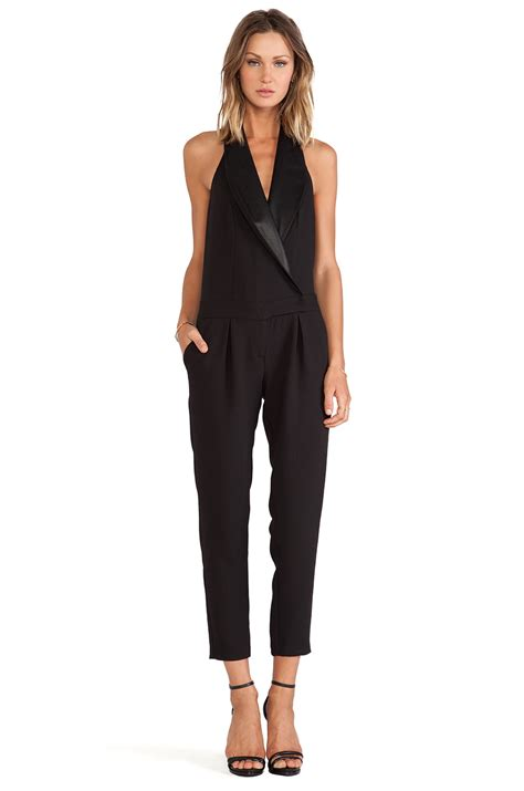 Tuxedo Romper Blackred lyst bcbgeneration tuxedo halter jumpsuit in black