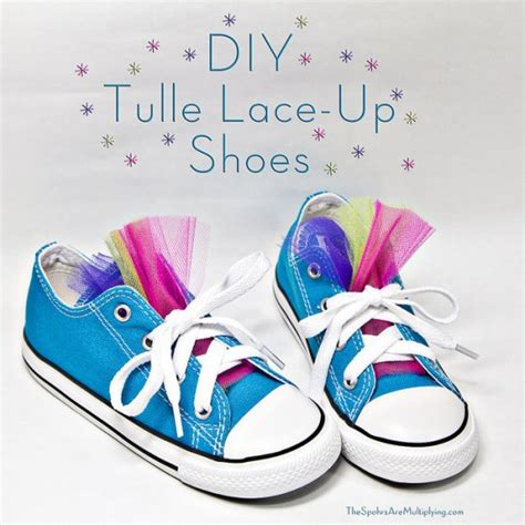 diy lace shoes the spohrs are multiplying no sew diy tulle lace up shoes