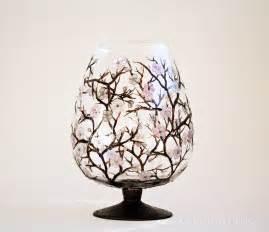 cherry blossom painted glass vase centerpiece