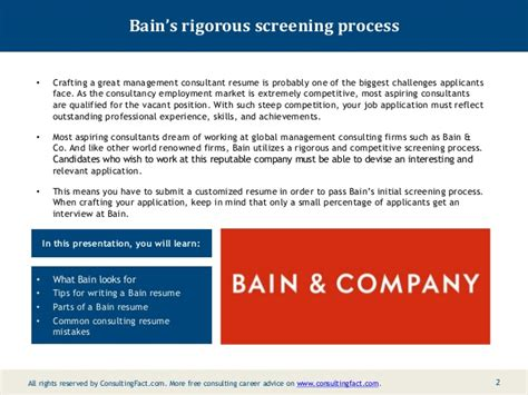 Bain Resume Sample