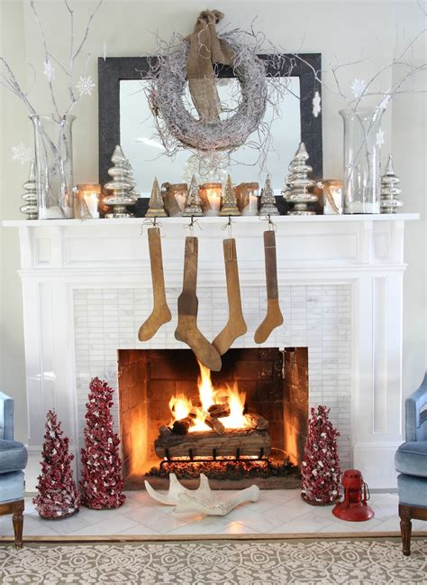 fireplace decorations ideas feasible christmas themed fireplace mantel