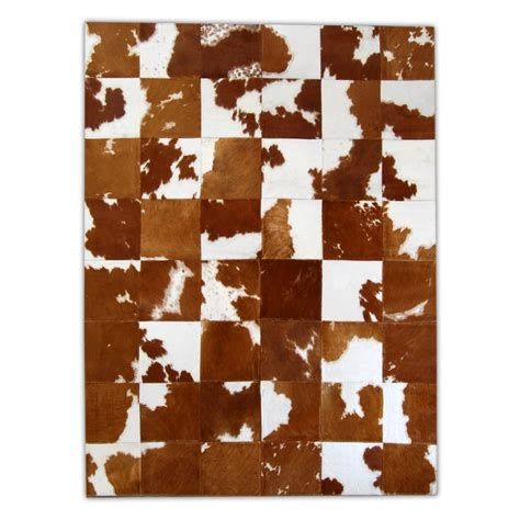 patchwork cowhide rug brown white homedeco furhome