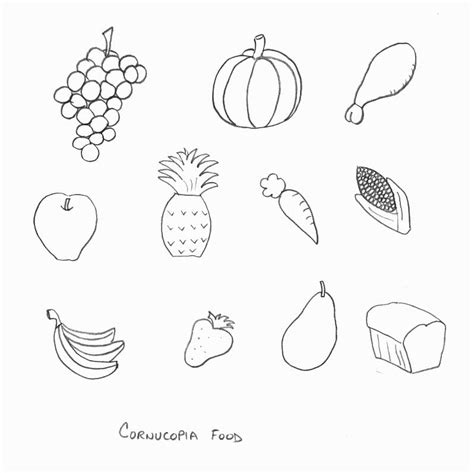 Cornucopia Template cornucopia coloring pages to print for a food coloring pages