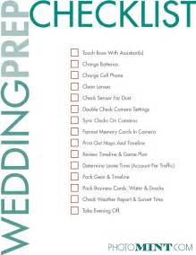 Wedding checklist for photographers