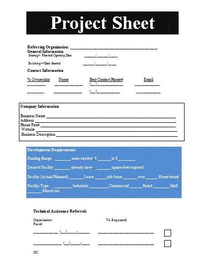Project Sheet Template Free Sheet Templates Project Sheet Template