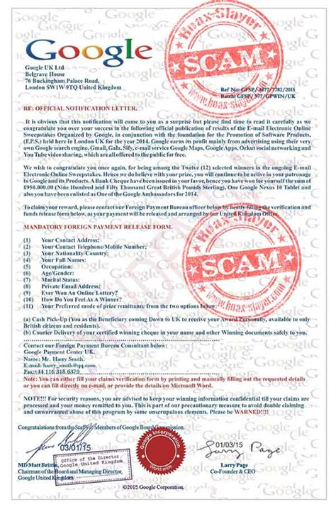 Sweepstakes Frauds - google email electronics sweepstakes advance fee scam