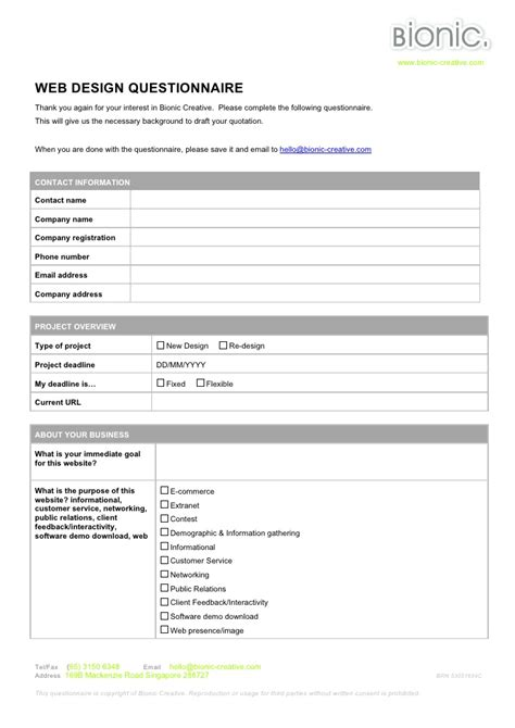 Web Design Questionnaire Questionnaire Design Template