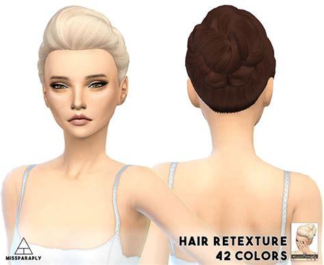 sims 4 cc hair retextures hair retexture ea bunbraidedpoof 42 colors hair