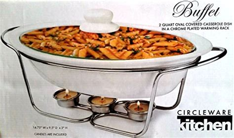 buffet 2 quart oval covered casserole dish in a chrome plated warming rack home garden kitchen