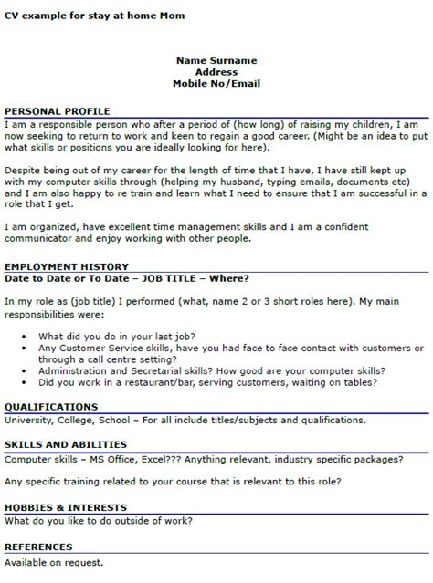 cv exle for stay at home cover letters and cv