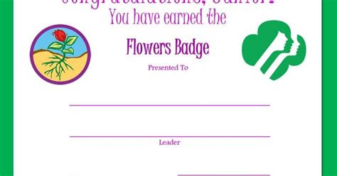 charades cards template amuse journey junior flowers badge certificate flowers badge junior