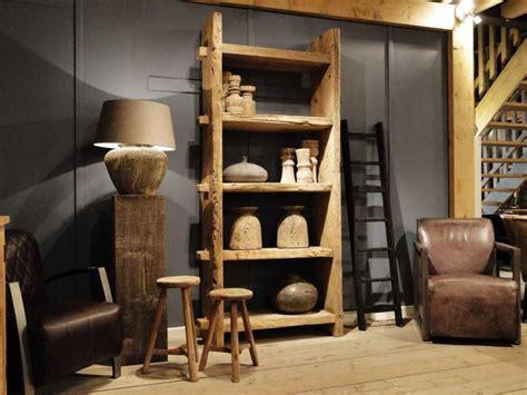 robuuste houten ladder boekenkast van oud hout abruzzo kasten dressoirs en tv
