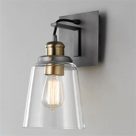 Glass Wall Sconce Vice Wall Sconce Polished Nickel Wall Sconces And Antique Brass