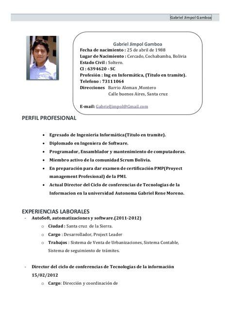 modelo de curriculum vitae bolivia modelo de curriculum
