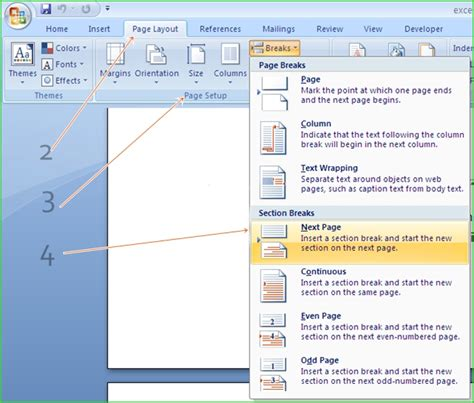 view section breaks in word how to change the page orientation of a single page in ms