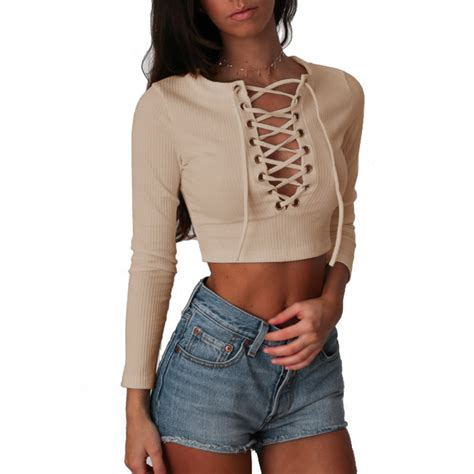 18682 Top Blackgraywhite nadafair sleeve laced up criss cross t shirt