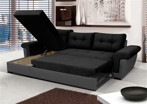 Leather Sofa Bed by New Corner Sofa Bed With Storage Black Fabric Grey