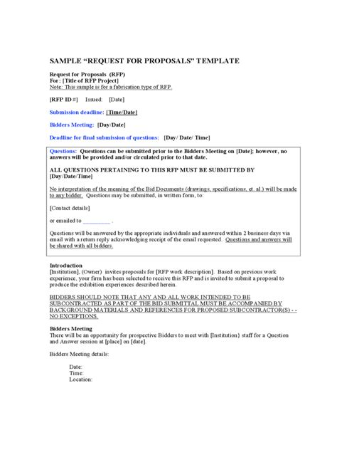 Proposal Contract Proposal Template Government Contract Bid Template