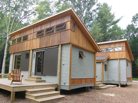 traverse city cottages compact modular pre fab cottage made from local materials sits amongst trees near traverse city