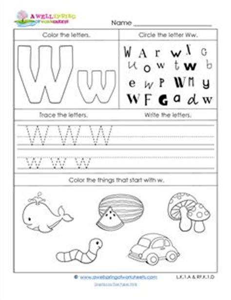 W Worksheets by Abc Worksheets Letter W Alphabet Worksheets A Wellspring