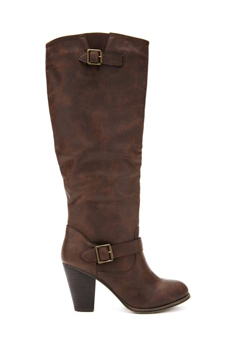 forever 21 boots forever 21 plus size buckled knee high boots wide in