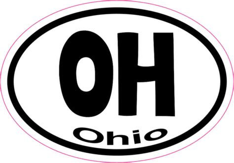 Stiker Ogio 3in x 2in oval oh ohio sticker vinyl vehicle window state