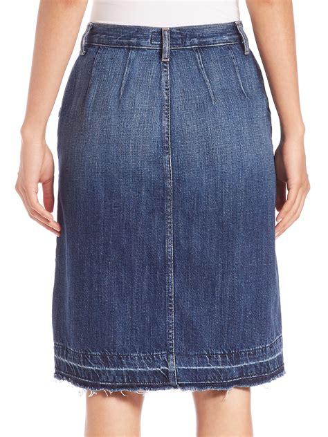 current elliott sally button front denim skirt in blue lyst