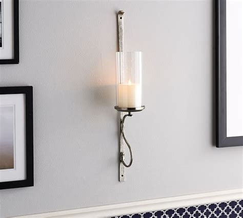 Silver Wall Sconce Candle Holder Artisanal Wall Mount Candleholder Silver Pottery Barn