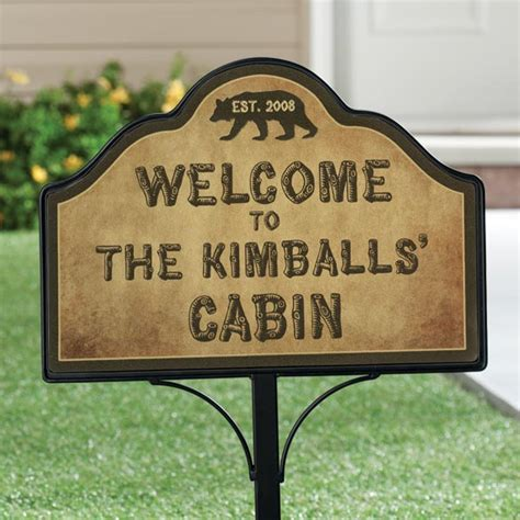 personalized cabin magnetic yard sign yard signs