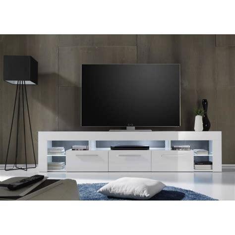 Meuble Tv 200 Cm by Score Meuble Tv Avec 233 Clairage Led 200cm Blanc Brillant